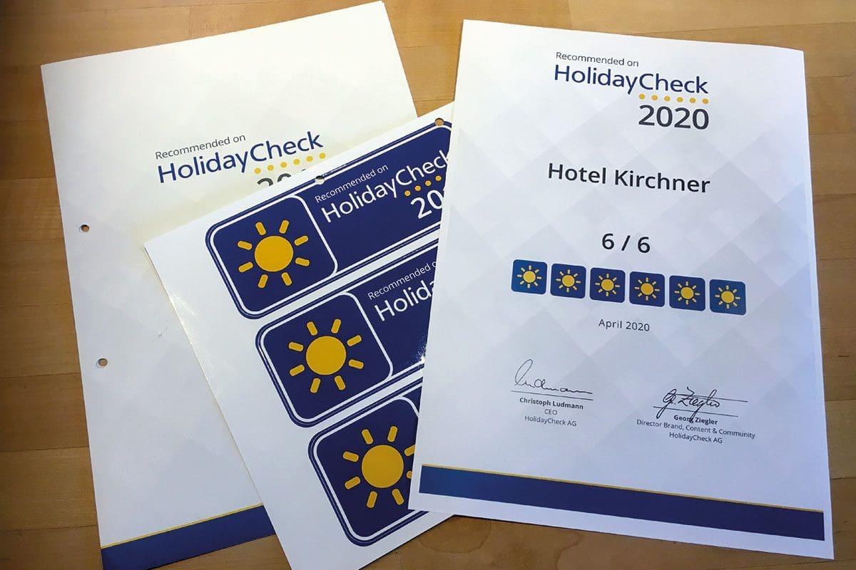 Holidaycheck-Auszeichnung - Wanderhotel