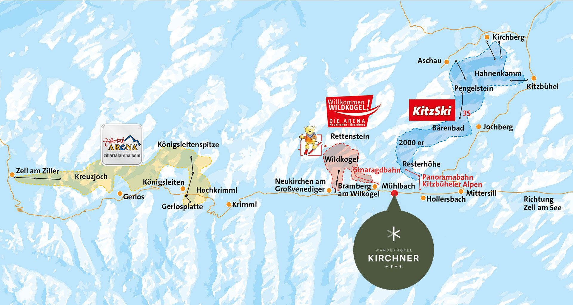 Plan - Skigebiete rund ums Wanderhotel Kirchner